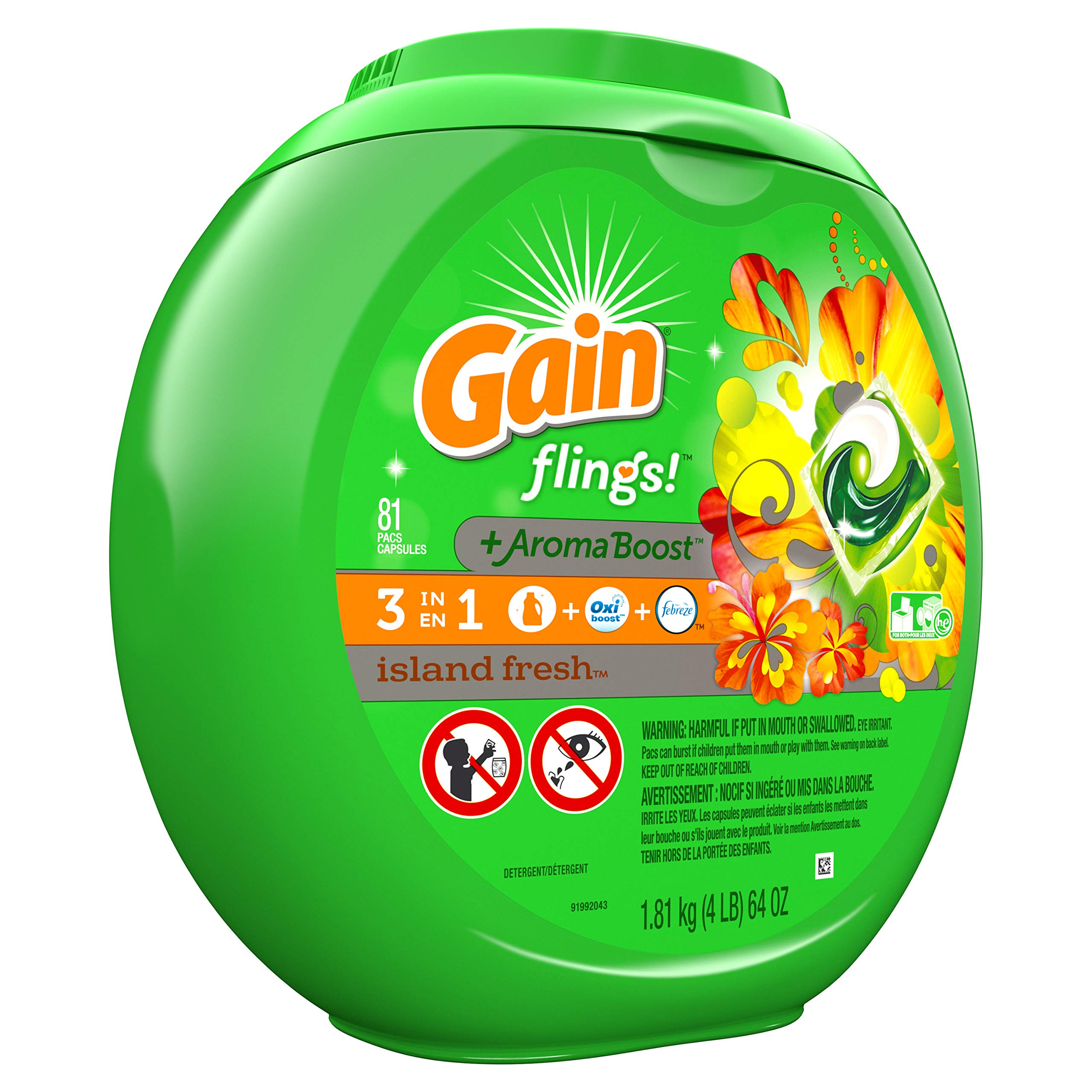 Gain flings! Laundry Detergent Pacs plus Aroma Boost, Island Fresh Scent, HE Compatible, 81 Count (Packaging May Vary) by Gain (Image #9)