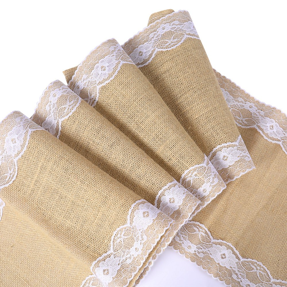 12'' x 118'' 5pcs Burlap Hessian Jute Table Runner Rustic Natural Table Decoration Runner Décor Outdoor Wedding Engagement Parties, Christmas, Birthday, Hotels, Restaurants, Caters, Party planners