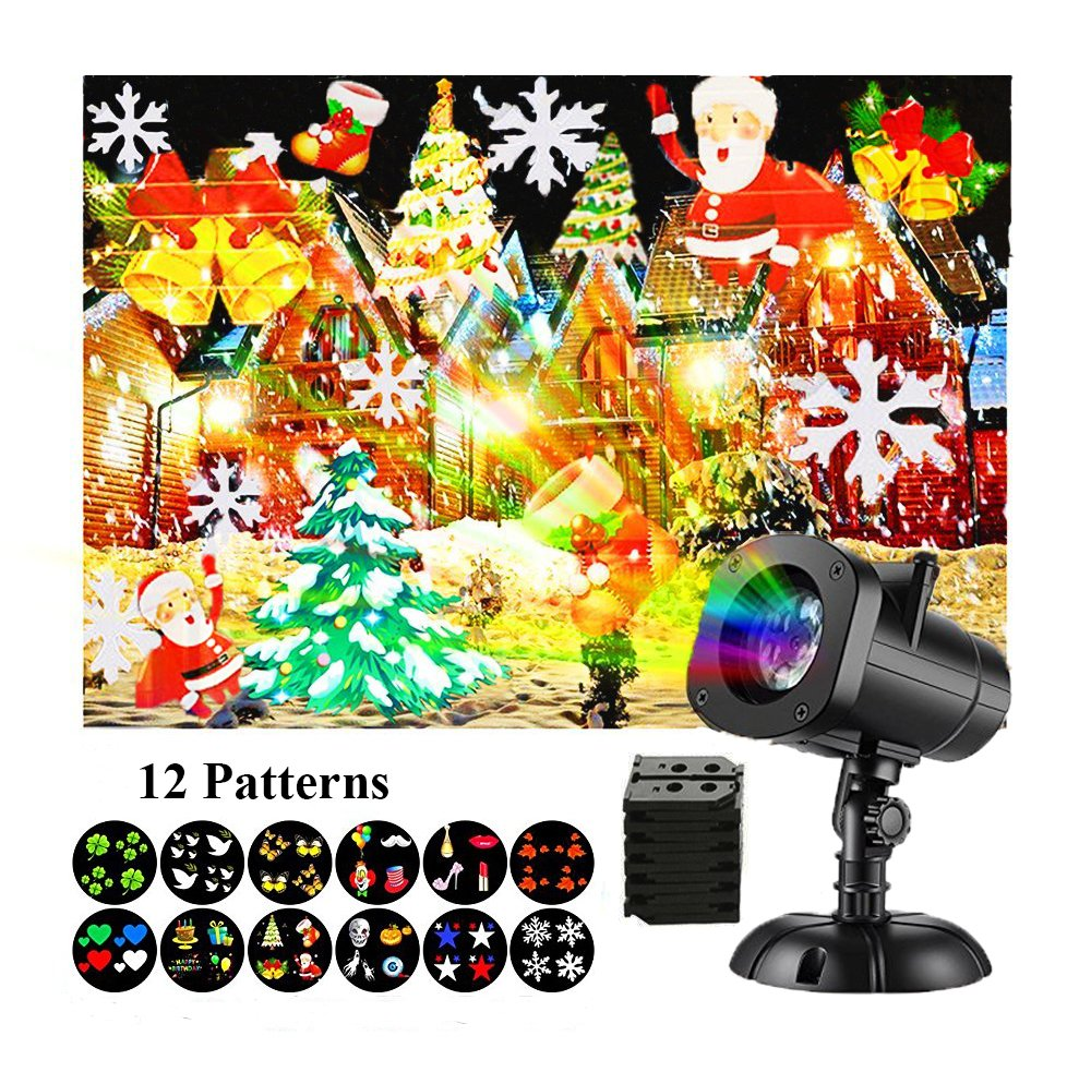 Christmas Light Projector, Halloween Projector Outdoor Decration Lights Waterproof LED Spotlights Landscape Rotating Light for Party, Garden and Wall Decoration (12 Slides) MINPE