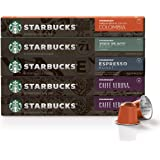 Starbucks by Nespresso, Intense Variety Pack (50-count single serve capsules, 10 of each flavor, compatible with…