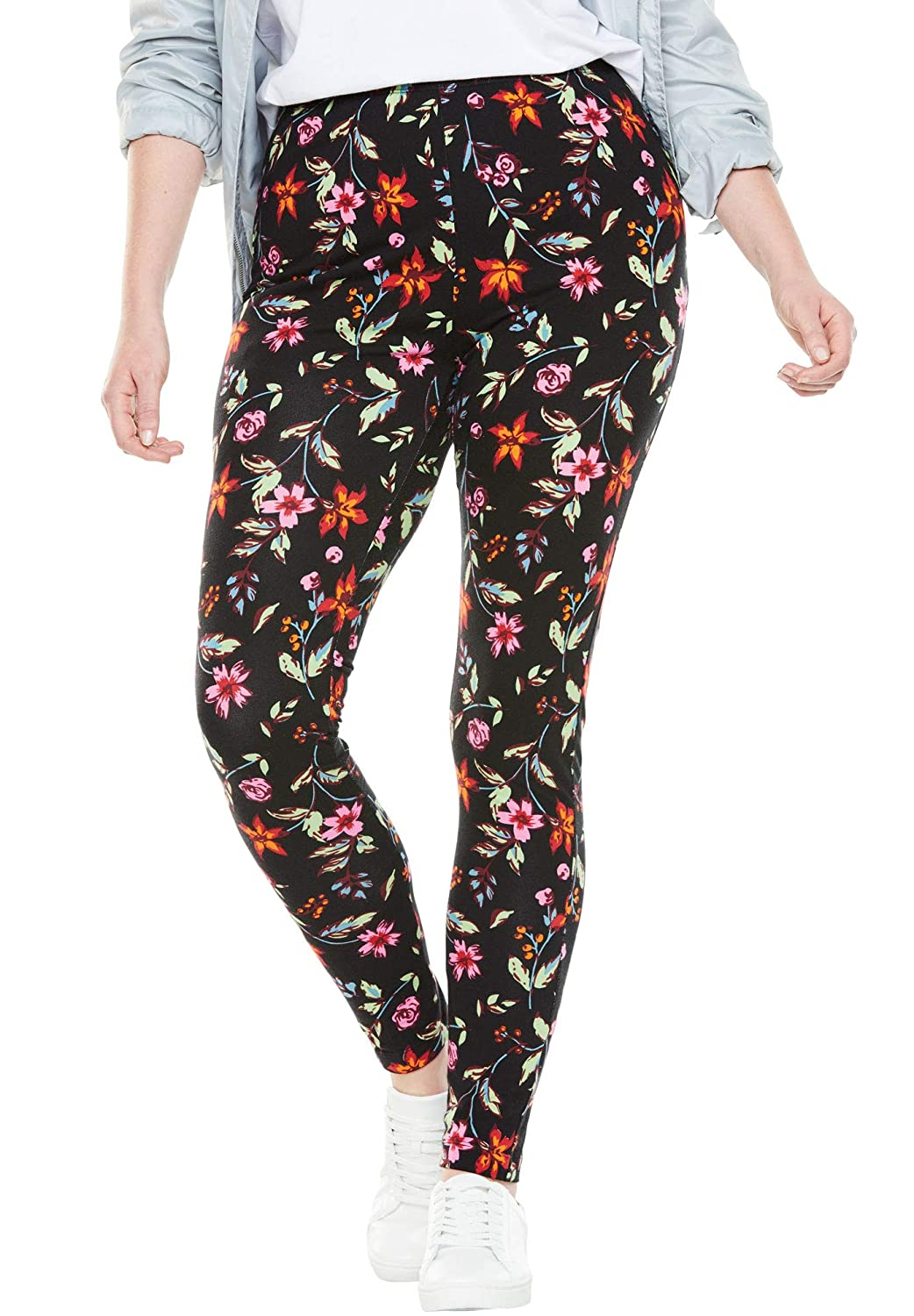 Woman Within Womens Plus Size Petite Stretch Cotton Printed Legging