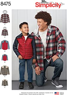 product image for Simplicity Men's and Boy's Shirt Jacket Sewing Patterns, Sizes S-L Sizes S-XL