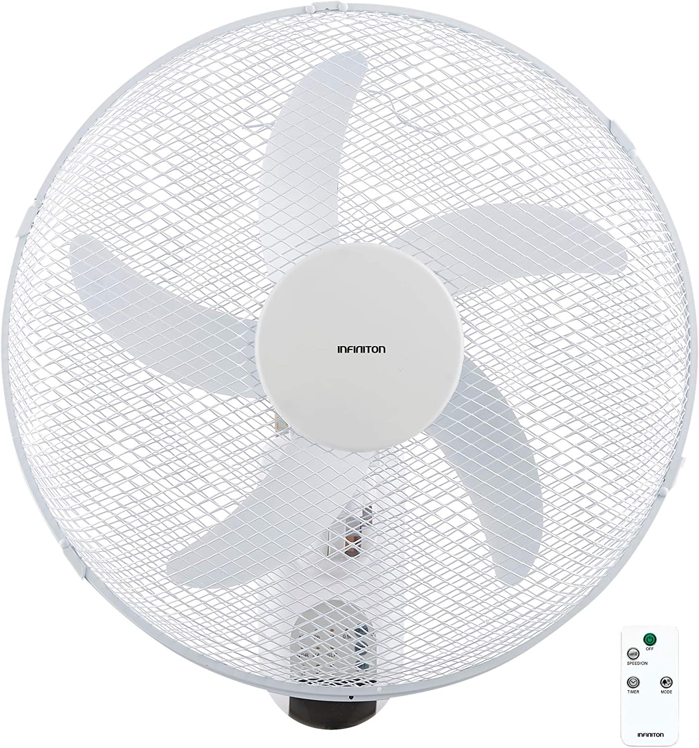 INFINITON Wing Wall Fan 40 cm 3 Speeds Wide Coverage 230 V//50 Hz//60 W Remote Control