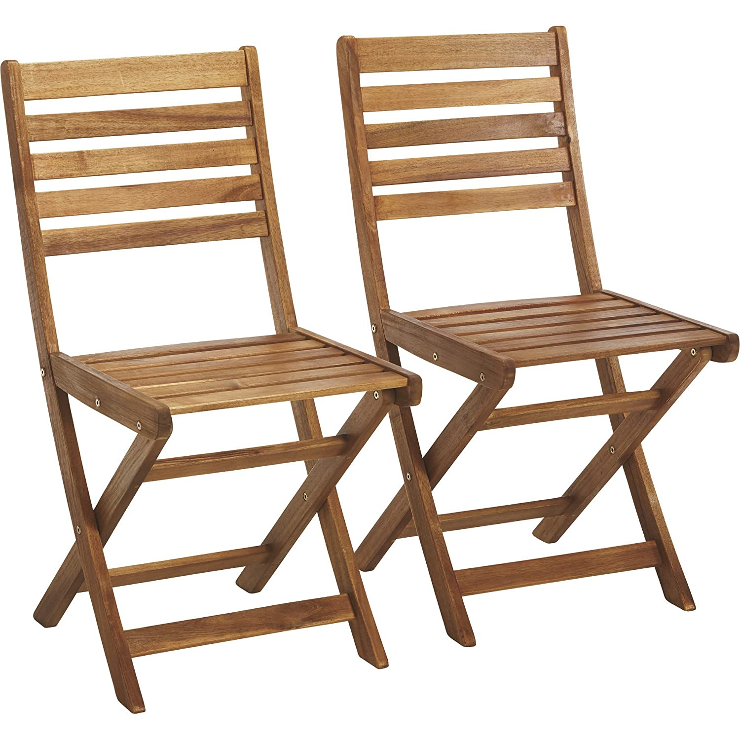 Amazon.com: 2-PC. Silla de madera de acacia plegable Set ...