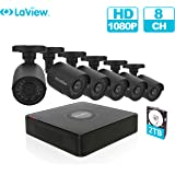 LaView 8 Channel Full HD 1080P Business and Home Security Camera System 6X Weatherproof Bullet Cameras