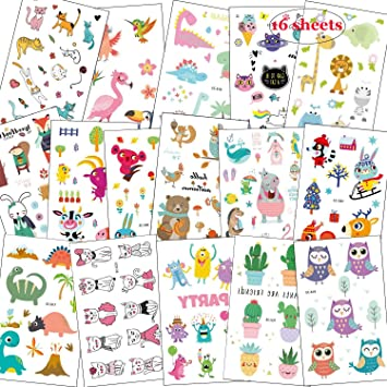 SZSMART Zoo Animales Tatuajes Temporales, Tatoos Infantiles ...