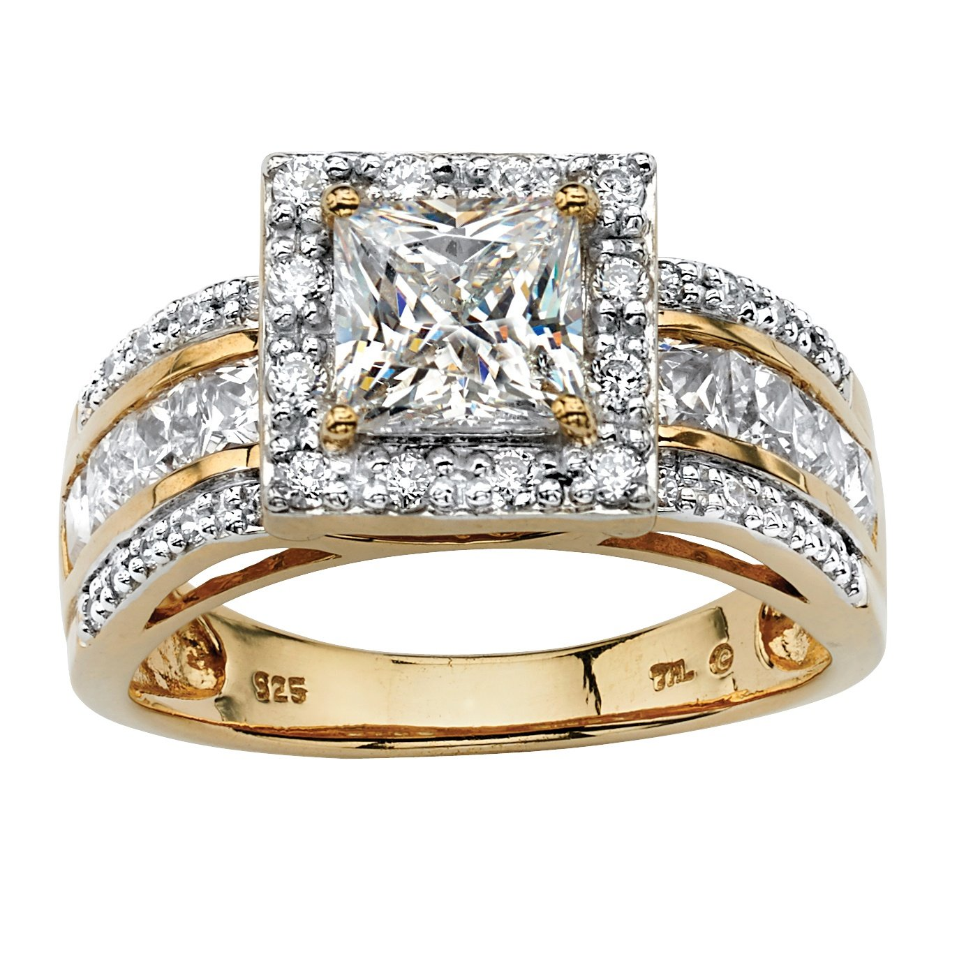 18K Yellow Gold over Sterling Silver Princess Cut Cubic Zirconia Halo Triple Row Engagement Ring Size 8 by Palm Beach Jewelry