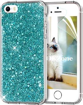OKZone Funda iPhone SE Carcasa Purpurina,Funda iPhone 5/5S, Cárcasa Brilla Glitter Brillante TPU Silicona Teléfono Smartphone Funda Móvil Case para Apple iPhone 5/iPhone 5S/iPhone SE (Verde): Amazon.es: Electrónica