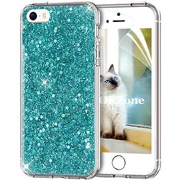 OKZone Funda iPhone SE Carcasa Purpurina,Funda iPhone 5/5S, Cárcasa Lujosa Brilla Glitter Brillante TPU Silicona Teléfono Smartphone Funda Móvil ...