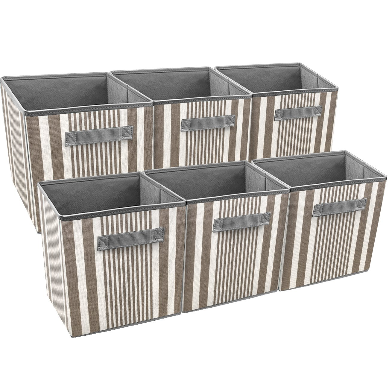 Sorbus Foldable Storage Cube Basket Bin, Vertical Stripe Line Pattern (6 Pack, Grey Taupe)