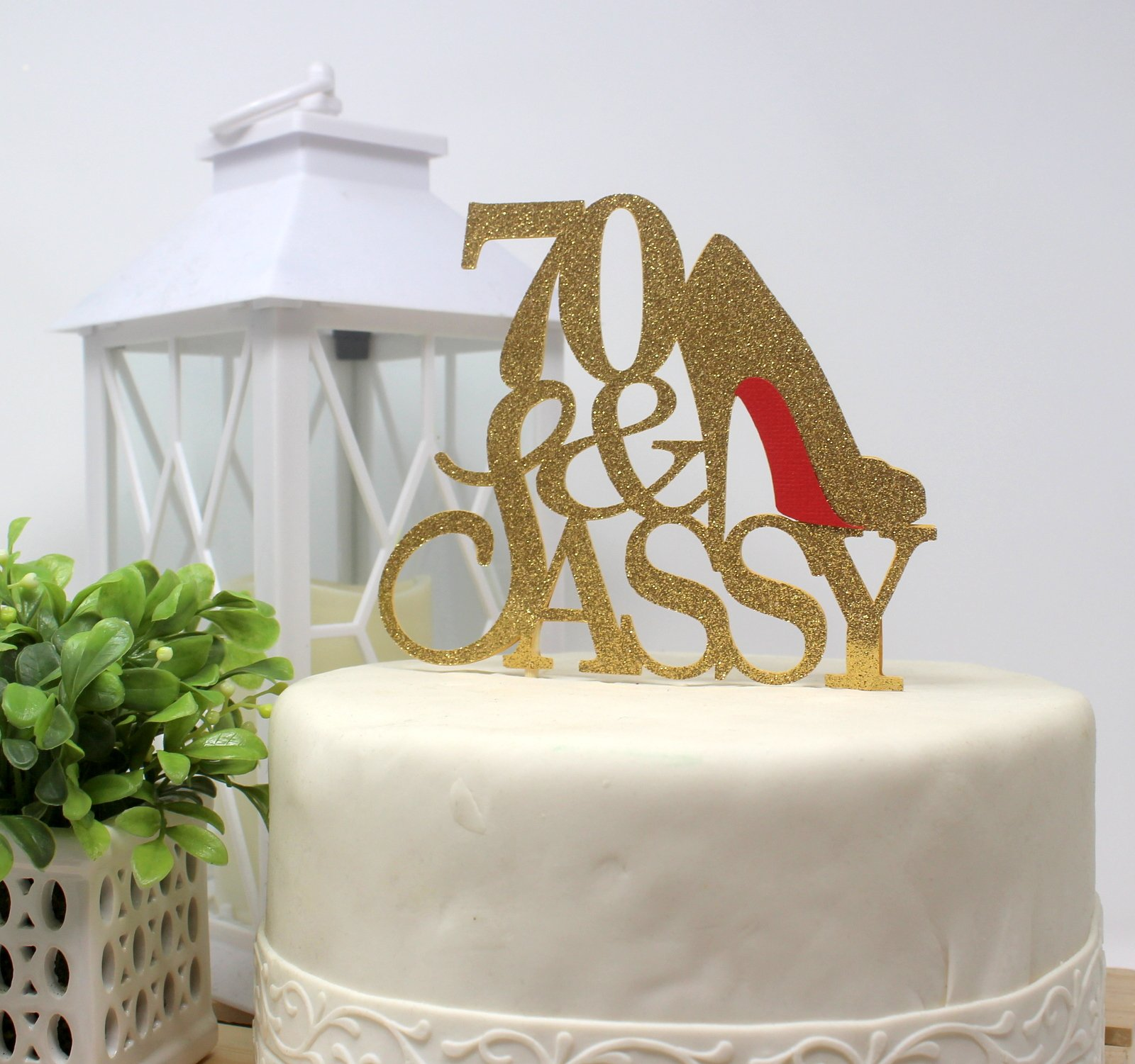 All About Details CAT70SAGOL 70 & Sassy Cake Topper (Gold), 6in wide and 5in tall with 2-pcs of 4in wood skewers by All About Details (Image #4)