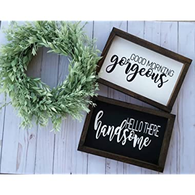 DASON Good Morning Gorgeous Hello There Handsome Framed Sign Set Farmhouse Style Bedroom Signs Bathroom Signs Fixer Upper Style