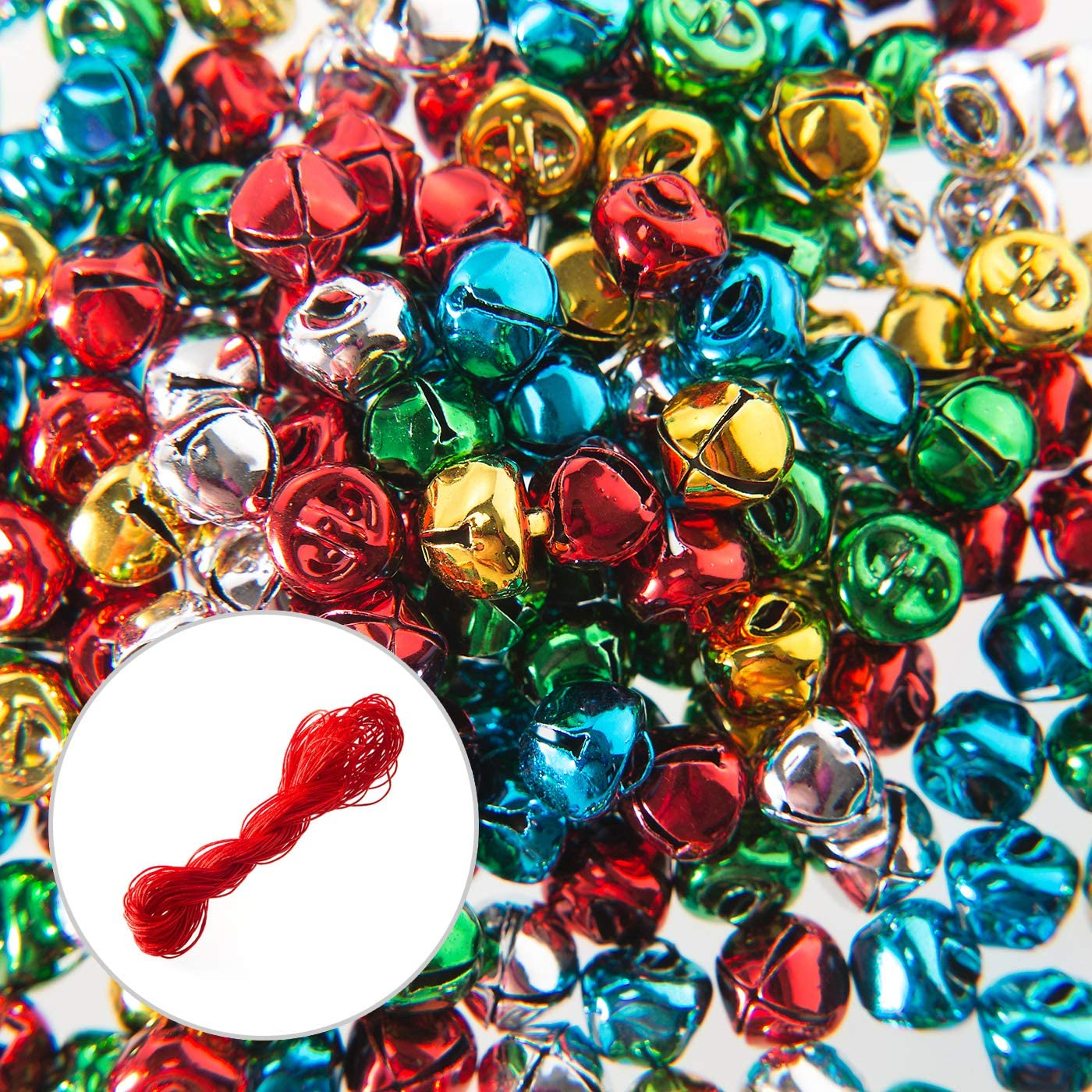 Random Color NUOBESTY 50pcs Plastic Jingle Bells Christmas Round Bell Mini Craft Bells for Christmas Festival DIT Kids Hand Rattle Bells Accessories