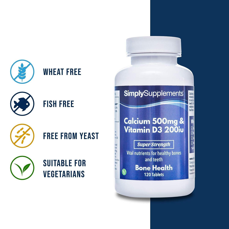 Calcio 500mg y Vitamina D3 200iu - 120 Comprimidos - Hasta 4 meses de suministro - Huesos fuertes & Dientes sanos -SimplySupplements: Amazon.es: Salud y ...