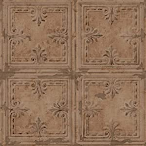 RoomMates Copper Tin Tile Peel and Stick Wallpaper