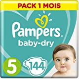 Pampers - Baby Dry - Couches Taille 5 (11-23 kg) - Pack 1 mois (x144 couches)