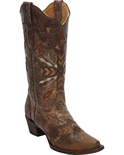 Women's Tribal Embroidered Cowgirl Boot Snip Toe Cognac 6 M US