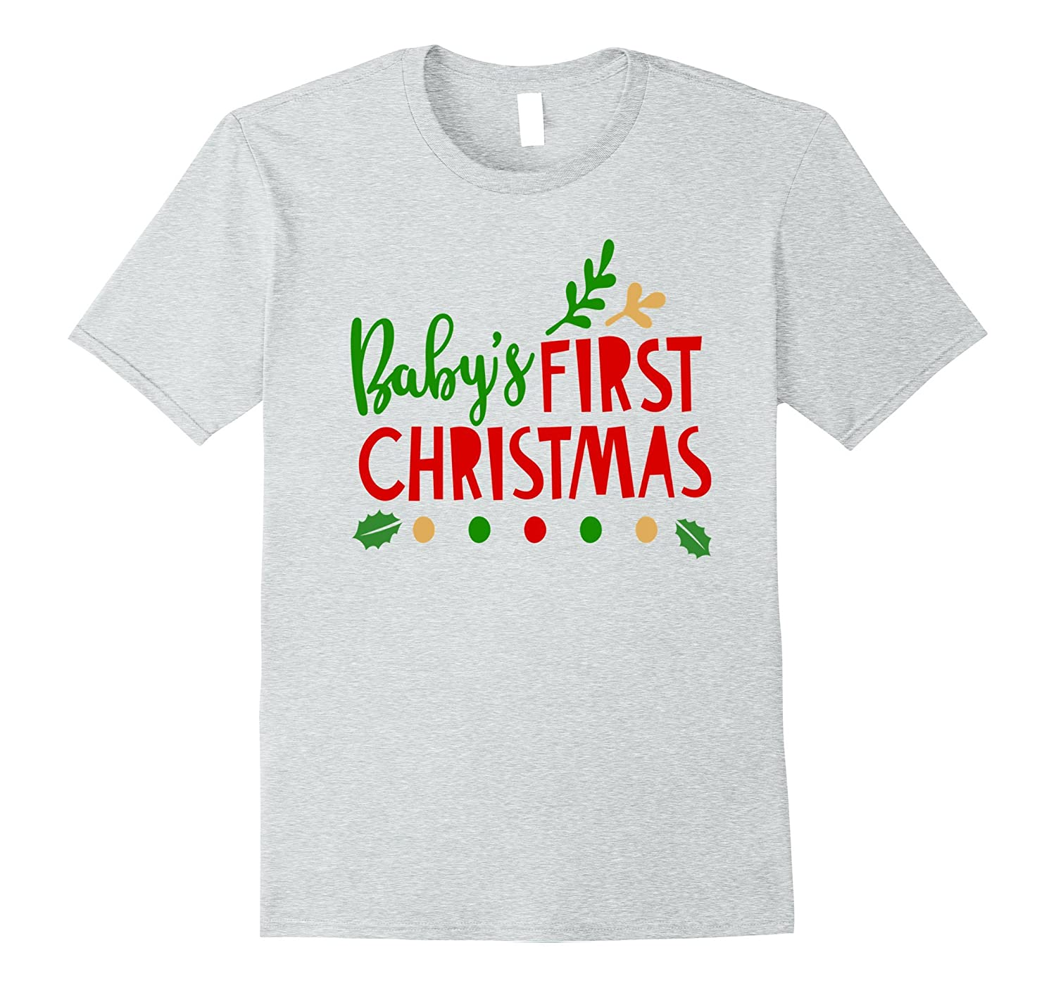 Babys First Christmas Shirt Holiday Family Photo Mom Dad Kid-T-Shirt