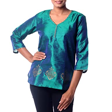 dfebb58d759078 Image Unavailable. Image not available for. Color: NOVICA Blue and Green  Beaded Silk Tunic, Emerald Empress'