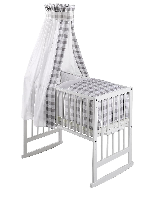 Schardt Vario Multifunctional Crib White with Grey Vichy Check Fabrics