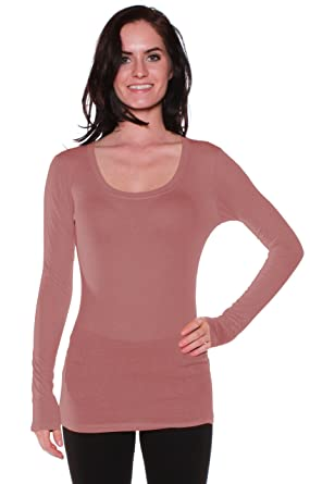 37a87e87 Active Basic Womens Plain Basic Deep Scoop Neck Long Sleeves Top Shirt,Dusty  Pink,