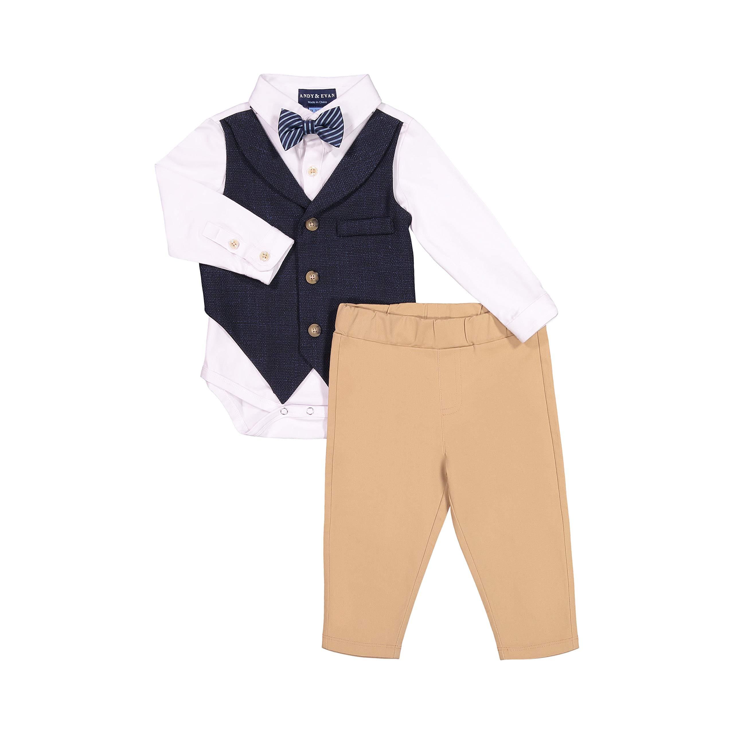 Andy & Evan Baby Boys' Long Sleeve Formal Shirtize + Pant Set, Suspenders, Suit Vest & Tie - Snap Bottom Closure Dark Blue by Andy & Evan