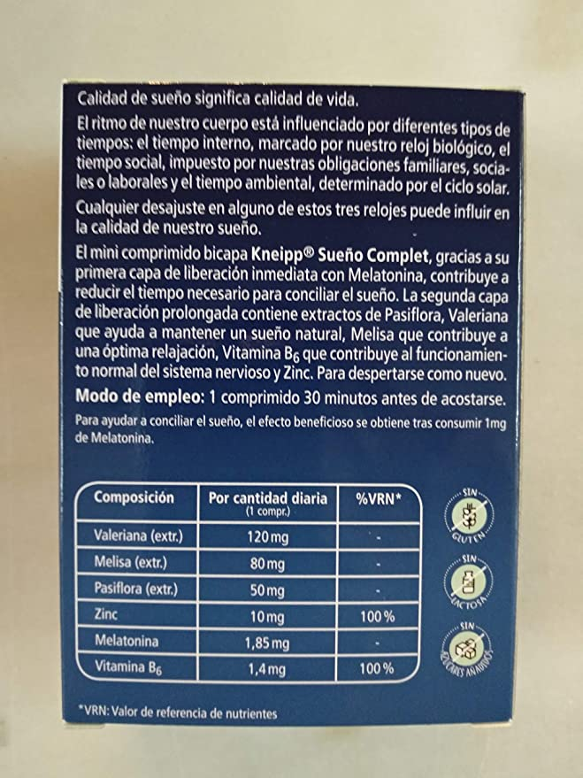 Kneipp sueño complet 60 comprimidos bicapa: Amazon.es: Salud y cuidado personal