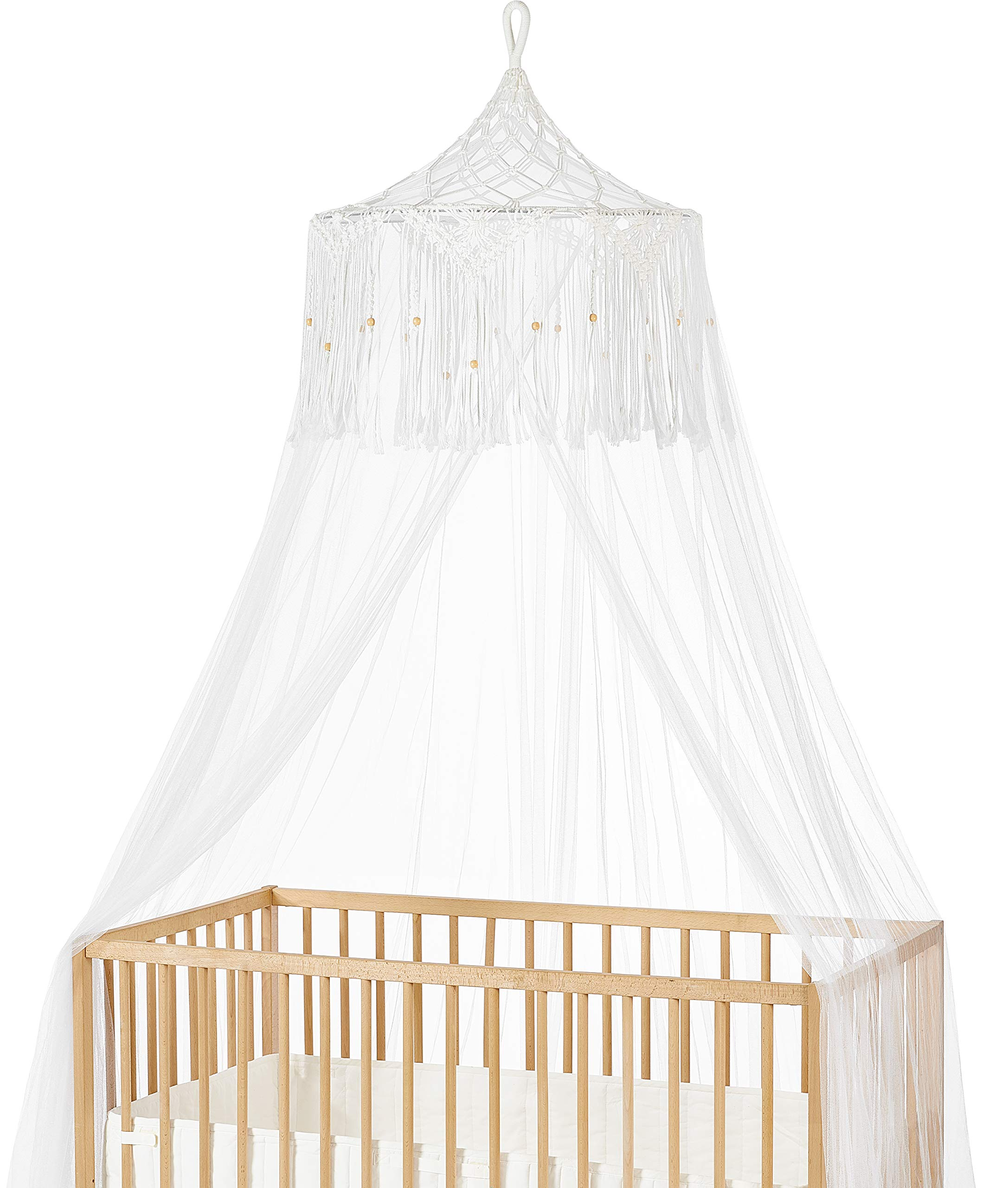 Mkono Macrame Bed Canopy Mosquito Net Play Tent Hanging Canopy Macrame for Kids Baby Bed, Large Mosquito Net for Single to King Size Beds,Macrame Wedding Home Decor,White