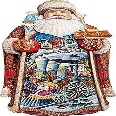 Amazon Com G Debrekht Train Ride Santa Carved Wood And Hand Painted Figurine Home Kitchen