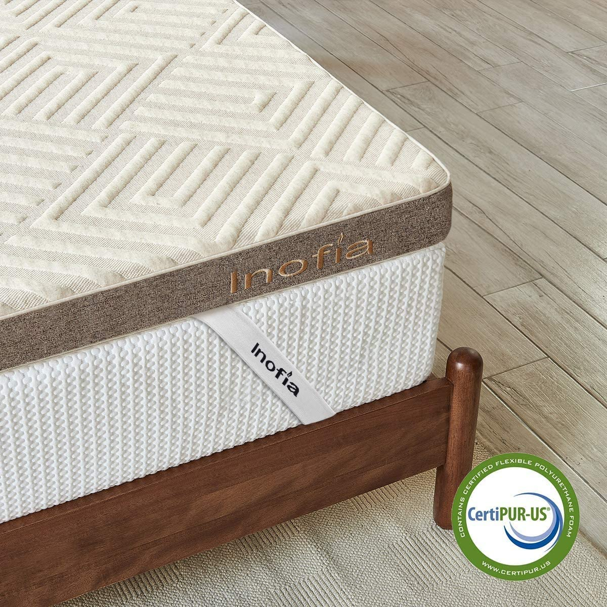 Inofia Latex Memory Foam Mattress Topper, 2cm Latex Memory Foam + 6cm Charcoal Support Foam,Mattress Topper with Linen Fabic Washable Cover, Pressure Relief, 100-Night Risk-Free Trial (140x200cm)