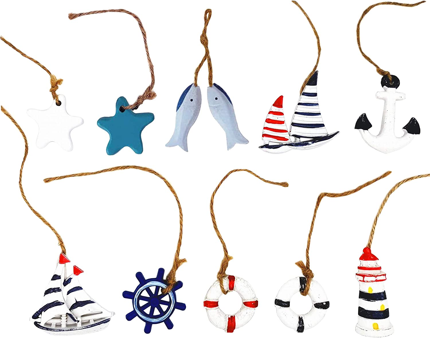 None branded Wooden Nautical Hanging Decoration Mini Beach Ornament Set Anchor Life Ring Starfish Sailboat Hangings Home Decor, 10 PCS by Baryuefull