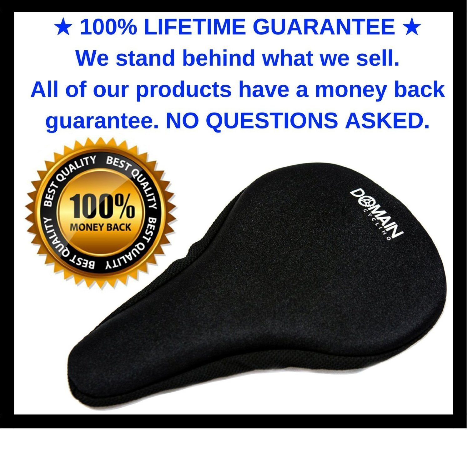 Premium Bike Gel Seat Cushion Cover 10.5''x7'' Domain Cycling - Most Comfortable Bicycle Saddle Pad for Spin Class or Outdoor Biking by Domain Cycling (Image #3)