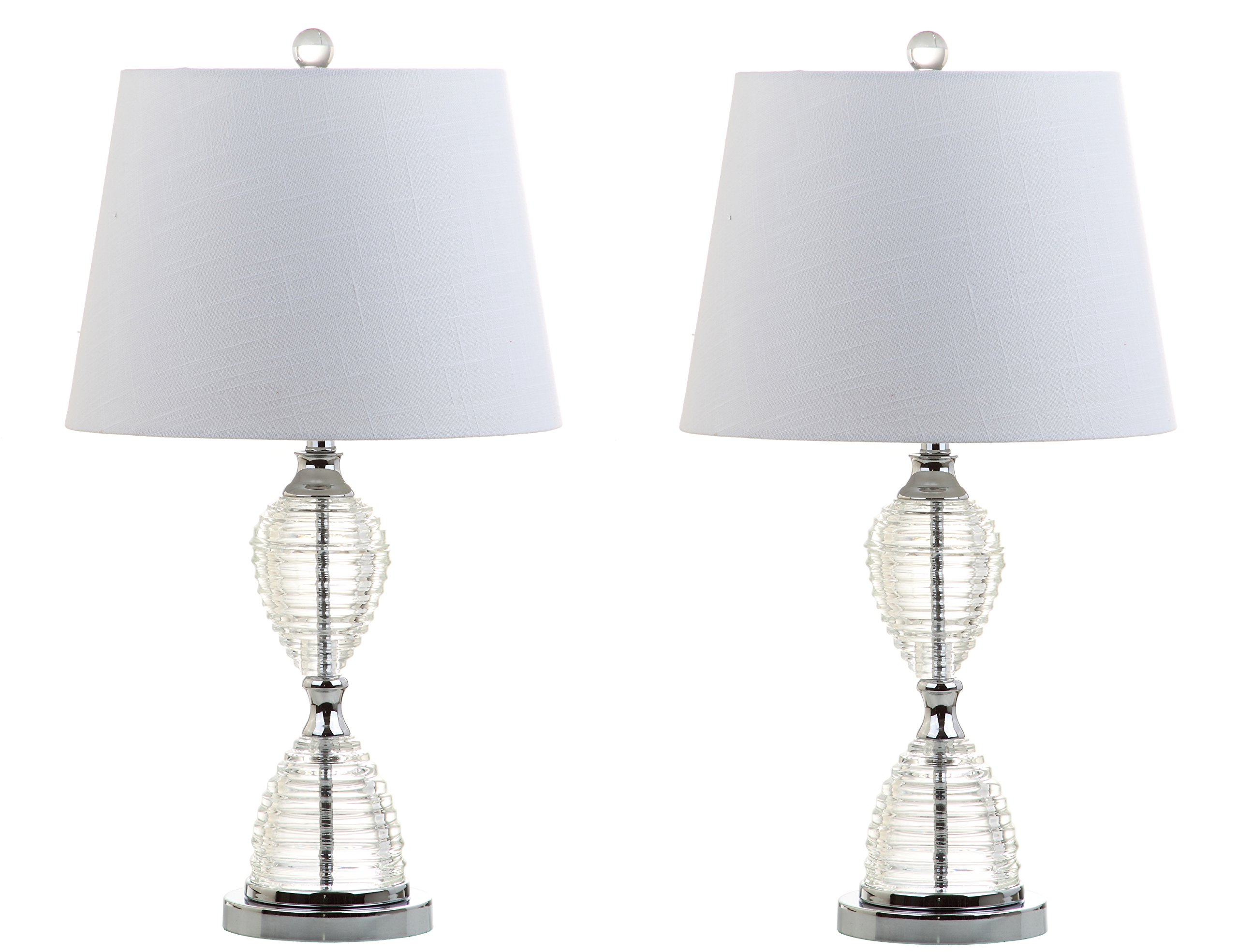 JONATHAN Y JYL2045A-SET2 Aubrey 24'' Crystal Table Lamp, Clear (Set of 2), Clear with White Shade