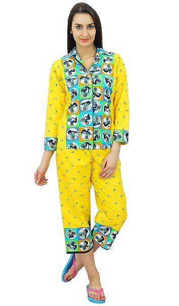 Bimba Camisa de algodón abotonada con pijama capri pantalones set lounge wear night suit