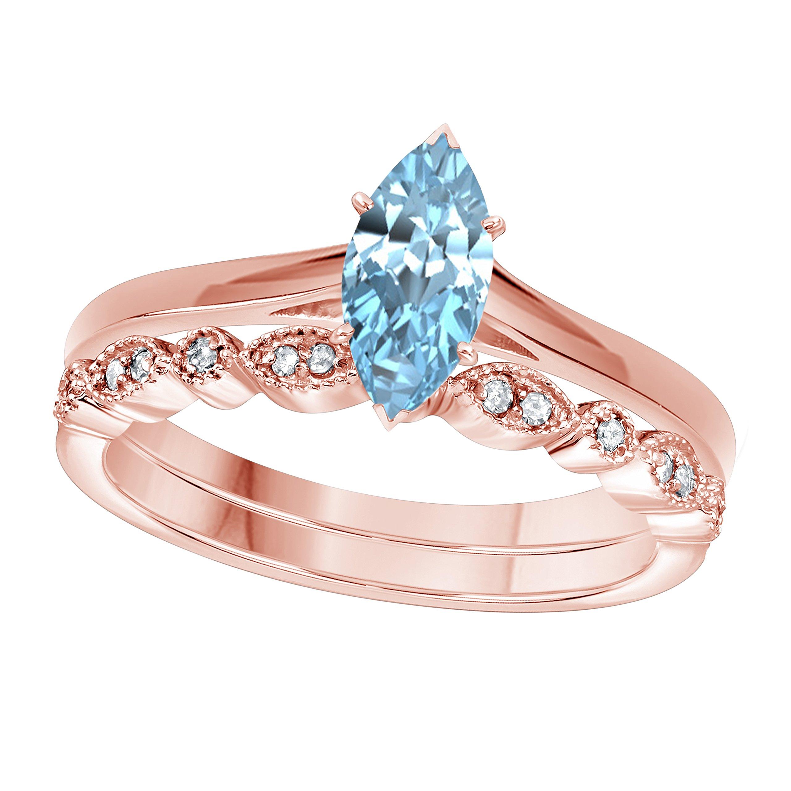 DreamJewels 1.00 Ct Marquise Shape & Round Cut Aquamarine & White CZ Diamond 14k Rose Gold Finish Alloy Art Deco Vintage Design Wedding Engagement Ring Sets Size 4.5-12