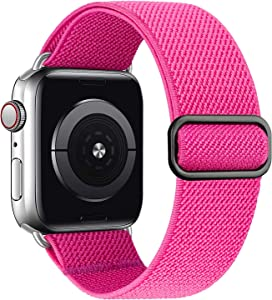 MEULOT Stretchy Braided Solo Loop Band Compatible with Apple Watch Band 38mm 40mm 42mm 44mm Adjustable Nylon Elastic Sport Women Men Strap Compatible with iWatch Series 6/5/4/3/2/1 SE Pink 38/40S