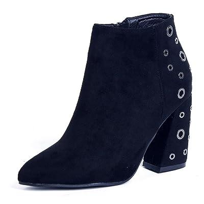 f7988ed4af1 AgeeMi Shoes Femme Bottine Talon Moyen Bloc Talon Lacets avec des Trous  Hiver Bottes