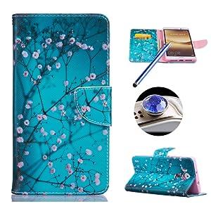 Huawei Mate 8 Coque De Tlphone Mobile Prune Fleur Motif Support Tui Protecteur Protection Portefeuille Et Carte Visite Dossier Fonction