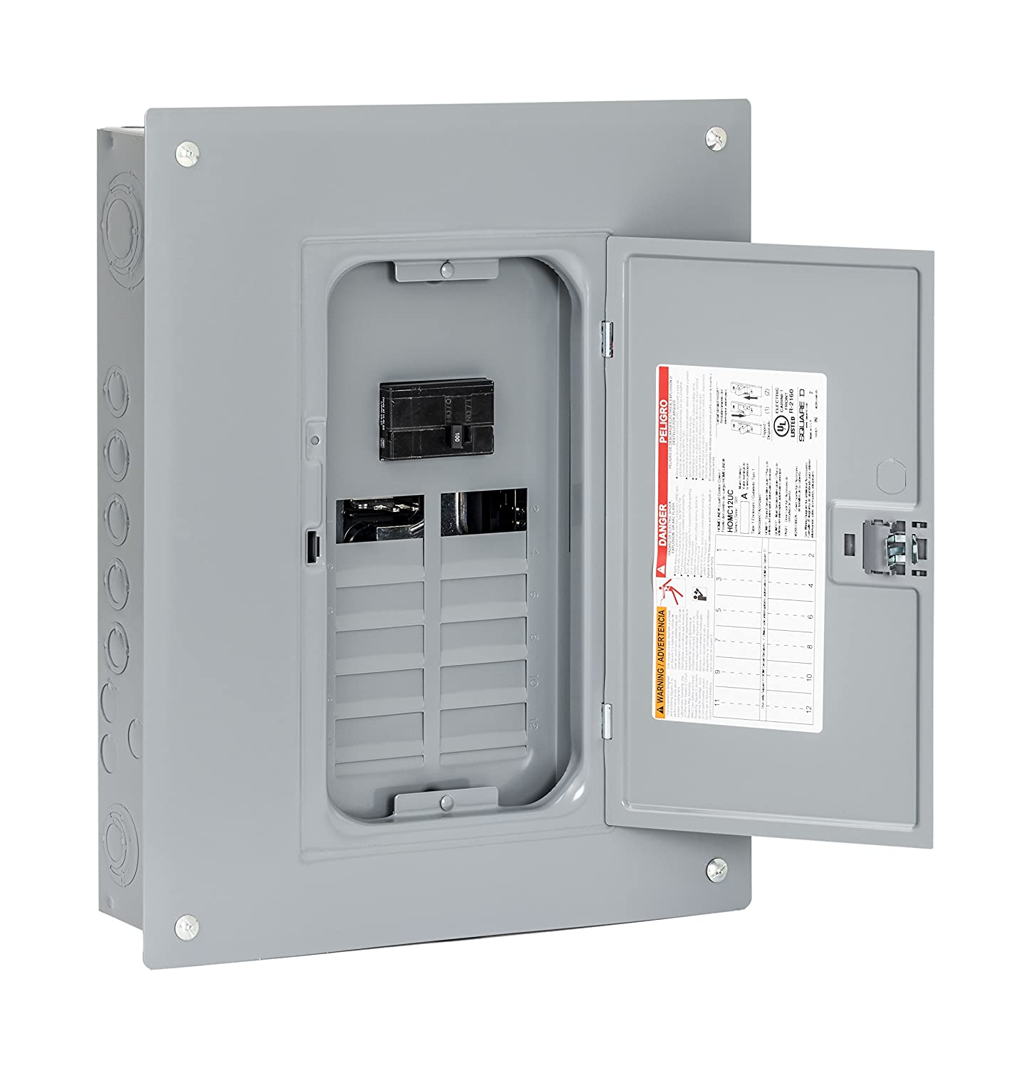 Square D By Schneider Electric Hom1224m100pc 100 Amp 12 Space 24 Two Pole 30 Circuit Breaker Hom230cp Indoor Main Load Center