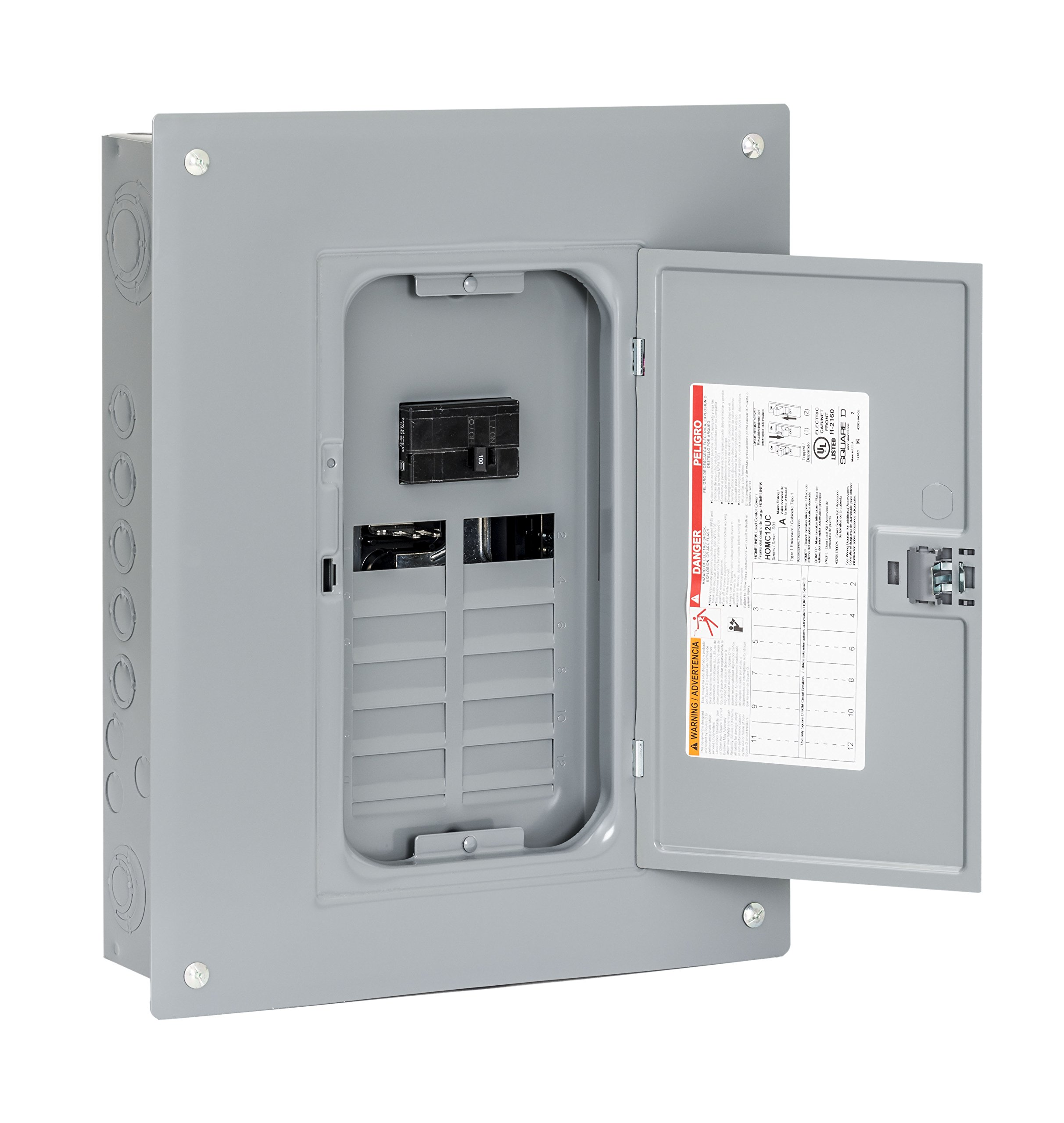 Square D by Schneider Electric HOM1224M100PC Homeline 100 Amp 12-Space 24-Circuit Indoor Main Breaker Load Center with Cover (Plug-on Neutral Ready),