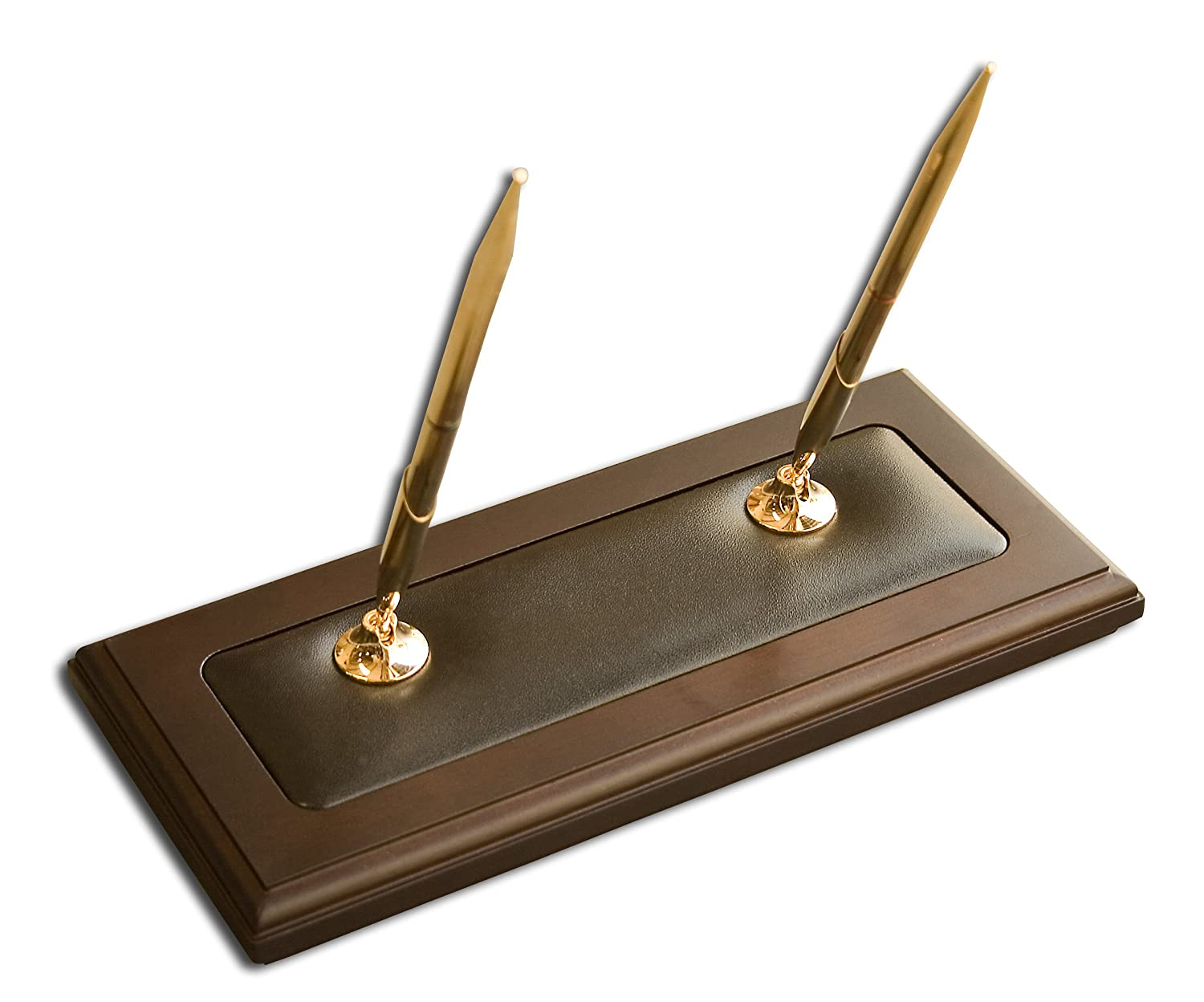Dacasso Pen Stand, Walnut and Black Leather A8404
