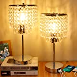 Crystal Table Lamp, 3-Way Dimmable Touch Bedside Lamp with Dual USB Charging Port, Nightstand Lamp with Crystal Shade…
