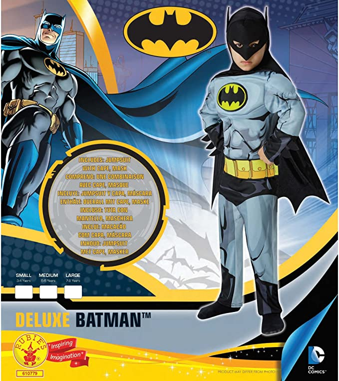 Amazon.com: Rubies Little Boys Batman Deluxe Comic Book - Costume Small Grey: Clothing