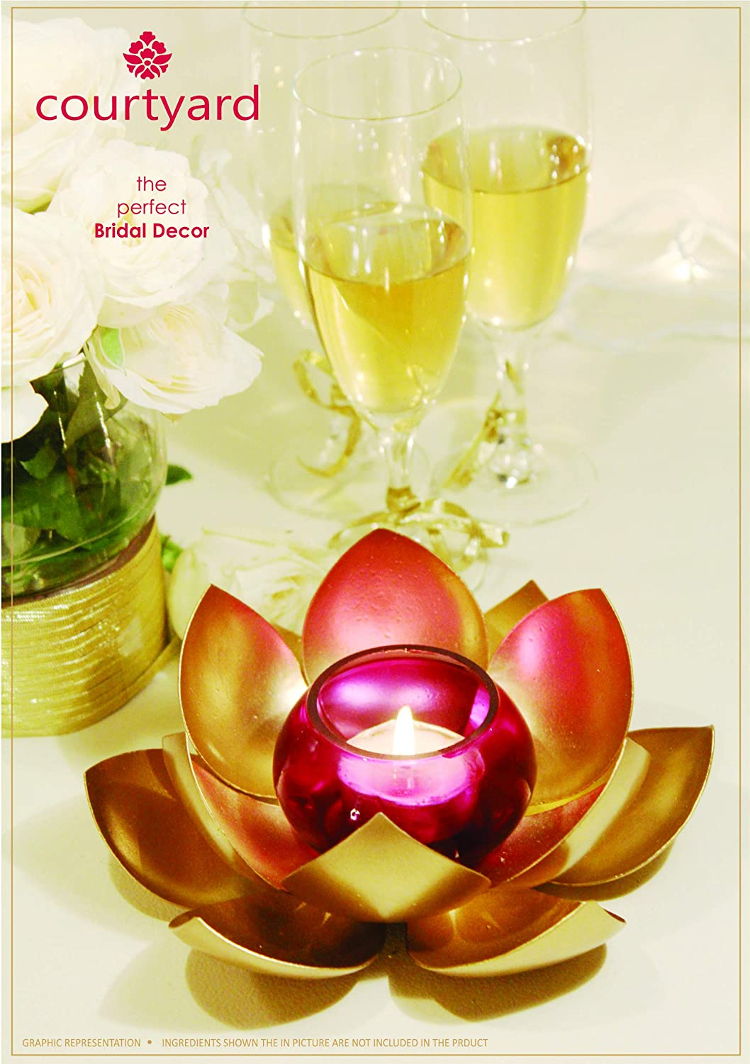 Excellent Indian Gift Item Aline Design Pvt Ltd ADLPFLGT001 Perfect Bridal or House Warming Gift or Business Gift Beautiful Home Decor  Pooja Accessory Brass and Glass Combination Lotus Candle Holder