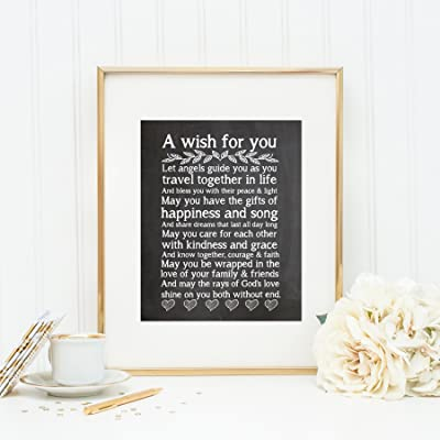 Wedding Chalkboard Print, Wedding Gift, Wedding Blessing Quote, Wedding Verse (8x10')