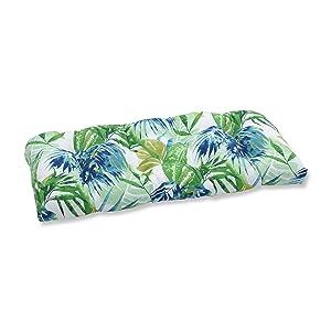 Pillow Perfect Outdoor/Indoor Soleil Wicker Loveseat Cushion, Blue/Green