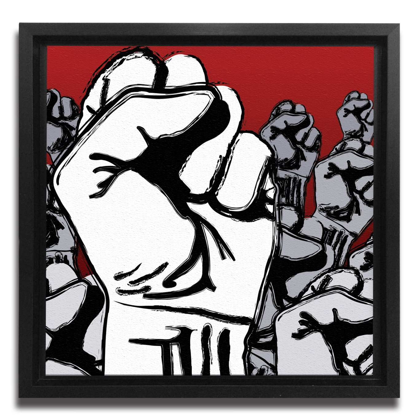 JP London Ready to Hang Made in North America Framed 1.5in Thick Gallery Wrap Canvas Wall Art Fight The Power The Fist Grafitti 18in SQSFCNV0044