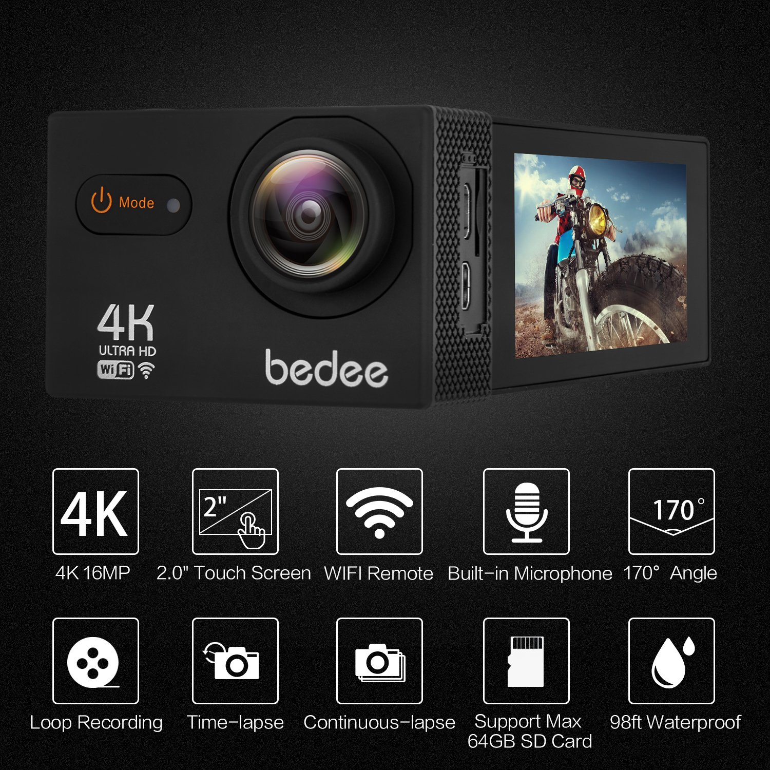 bedee 4K Action Camera Waterproof Sport Camera HD Camcorder 16MP 170 Degree View Angle 2 Inch TFT Screen W/Rechargeable 1050mAh Battery/1919 Accessories Kits