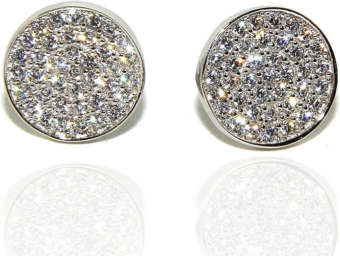 NALBORI Argento 925 coppia di orecchini 9,5mm uomo donna bottone pavè zirconi