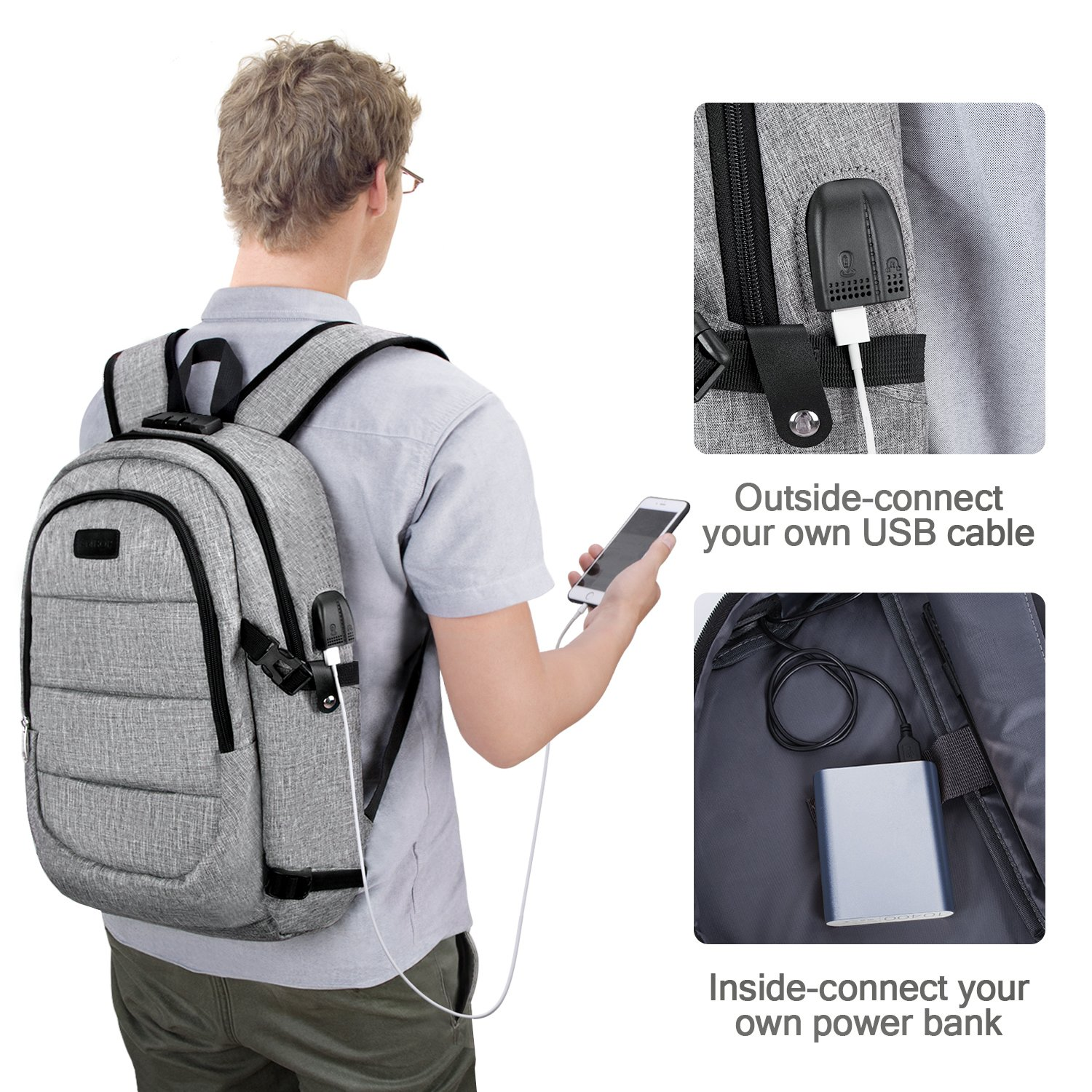 Travel Laptop Backpack,AMBOR Anti-Theft Business Laptop Backpack with USB Charging Port & Headphone Interface, Slim Durable College School Computer Bag for Men Women Fits 15.6 Inch Laptop and Notebook by AMBOR (Image #5)